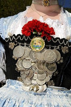 Woman in traditional dress, detail, during a folk festival in Ruhpolding, Chiemgau, Bavaria, Germany, Europe