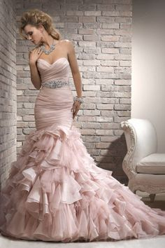 Mermaid Sweetheart Organza Wedding Dress with Belt and Beaded Motif - but NOT pink