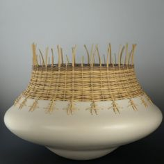 Jacquie Stevens is known for unique pottery, often combining clay with fiber, wicker, and stone. She was born in Omaha and raised on the Winnebago Reservation. Ceramic Clay, Ceramic Pottery, Earthenware, Stoneware, Deco Ethnic Chic, Contemporary Baskets, Organic Ceramics, Pottery Techniques, Pottery Classes