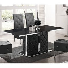 Levo Glass With High Gloss Rhinestones Base Dining Table