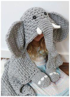 Hooded Elephant Blanket pattern by MJ's Off The Hook Designs Ravelry: Hooded Elephant Blanket pattern by MJ's Off The Hook Designs. Cute Crochet, Crochet Crafts, Crochet Toys, Crochet Projects, Knit Crochet, Crochet Animals, Ravelry Crochet, Knitted Dolls, Crochet For Kids