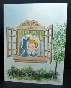 Art Impressions Front/Back Girl with Window Outside by mariajim - Cards and Paper Crafts at Splitcoaststampers