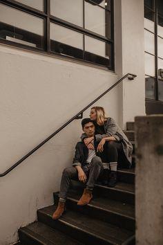 The Portland Pearl District Engagement Photos // Addison + Caleb — Corrie Mahr Photography - Oregon Wedding Photographer vintageengagementphotos Couple Photoshoot Poses, Couple Photography Poses, Couple Shoot, Photography Photos, Urban Engagement Photos, Engagement Couple, Engagement Session, Couple Pictures, Portland Oregon