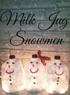 With a little help from the Dollar Tree store these cute milk jug snowmen are perfect addition for your porch Christmas decoration.