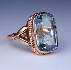 Antique Russian Aquamarine Rose Gold Ring