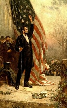 This vintage American Civil War painting features President Abraham Lincoln, holding the American flag, as he speaks before a crowd. Own a piece of American History with this digitally restored vintage poster from The War Is Hell Store. American Presidents, American Civil War, American History, American Pride, Abraham Lincoln, Republican Presidents, Us Presidents, Republican Party, Independence Hall