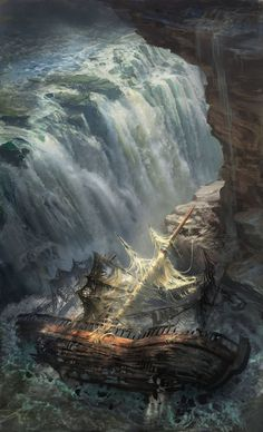 Abandoned Ship, by Michal Matczak. >> Love the huge waterfall in this one. Fantasy Places, Fantasy World, Abandoned Ships, Its A Mans World, Pirate Life, Fantasy Setting, Environment Design, Fantasy Inspiration, Fantasy Landscape