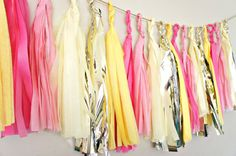 Lemonade Tissue Paper Tassel Garland   Party  by ThePaperJar, $35.00