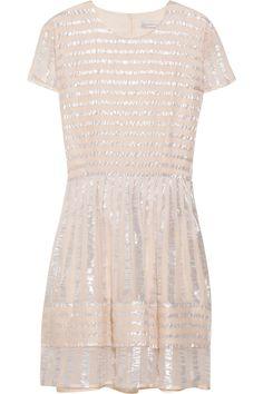 Richard Nicoll Metallic-striped georgette dress.