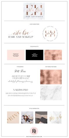 Brand guide for Esta Hsu by Fancy Girl Design Studio - chic, sophisticated, luxurious brand identity design with rose gold, blush and black color palette