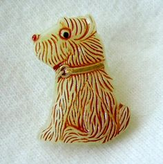 Czech Glass Puppy Button