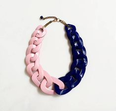 Chunky oversized chain necklace entirely handmade link by link from polymer clay in navy blue and pale pink and finished with brass chains (see other finishing chains as an option in the drop down menu). Unique yet versatile statement necklace, a sure conversation piece. Length: See the