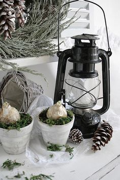 I want to buy a lantern! Looks really nice w/ Christmas décor.