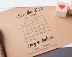 Save the Date Calendar Stamp with Heart Custom Wedding Stamp