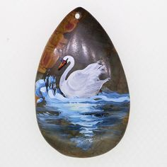 WILDLIFE HAND PAINTED ARABIAN SWAN PENDANT GEMSTONE JEWELRY ACCESSORY ZL806643 #ZL #Pendant