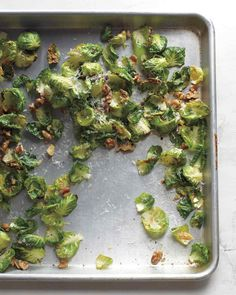 roasting brussels sprouts brings out their nuttiness. Tangy Pecorino Romano cheese adds extra depth.