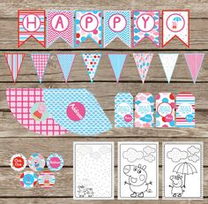 Peppa Pig Inspired Birthday Party- FULL COLLECTION. $45.00, via Etsy.