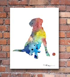 """Labrador Retriever"" Abstract Watercolor Art Print Signed by Artist DJ Rogers"