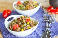 Mexican Quinoa Salad with Creamy Avocado Dressing