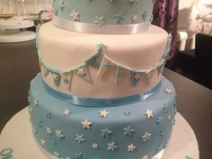 Train, stars, bunting, pale blue and white 3 tier baby boy christening cake Baby Boy Christening Cake, Baby Blocks, Bunting, Birthday Cakes, Trains, Blue And White, Stars, Boys, Baby Boys