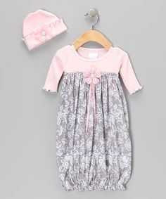 Take a look at this Pink & Gray Floral Gown & Beanie by Too Sweet on #zulily today!