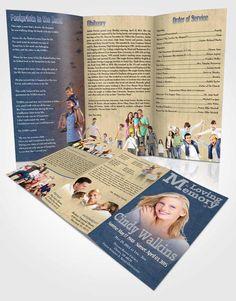 obituary template trifold brochure elegant love ocean breeze