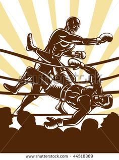 vector illustration of a Boxer knocking out opponent out of boxing ring #boxing #woodcut #illustration