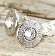 Classy Dainty .243 Nickel Bullet Stud Earrings
