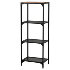IKEA - FJÄLLBO, Shelf unit, , This rustic metal and solid wood shelf is perfect for both storing and displaying your things.A simple unit can be enough storage for a limited space or the foundation for a larger storage solution if your needs change.The storage unit stands steady on uneven floors since it has adjustable feet.This rustic shelf is made of metal and solid wood which makes every piece of furniture unique.Wood is a natural material, and variations in the grain, color, and texture…
