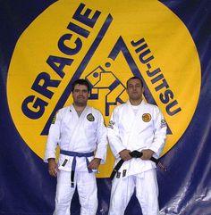 Robin Gracie y Alberto Cisneros en Gracie Barcelona, hace muchos años, cuando todavía se enseñaba jiu-jitsu en la primitiva escuela de Francolí, en Padua-Balmes.
