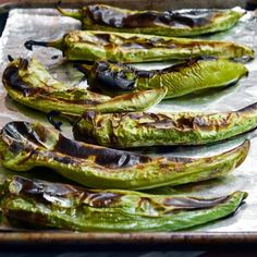 How To Roast and Freeze Green Chiles -  Ingredients:  Green chiles.  Equipment:  Towel for drying,  Oven broiler,  Baking sheet(s),  Tongs ,  Paper bag, food-safe plastic bag, or heat-safe covered bowl . Freezer bag(s) or shallow, freezer-safe container(s) Gloves to protect your hands (optional)