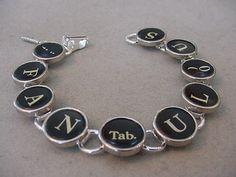 Typewriter Key Jewelry Bracelet  FANTABULOUS  by magiccloset