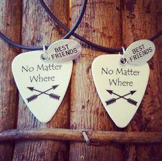 No Matter Where Best Friends necklaces set guitar by Featherpick