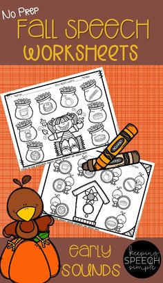These print and go fall themed articulation worksheets are for your students working on earlier developing sounds /p, b, m, t, d/. Initial, medial and final word positions are included for each sound.