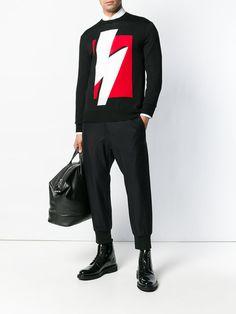 Neil Barrett Pop Art Lightning Bolt sweater Pop Art Fashion, Men's Fashion, Casual Shirts For Men, Men Casual, Mens Fashion 2018, Look Street Style, Neil Barrett, Lightning Bolt, Perfect Man