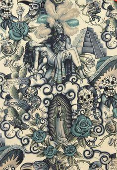 Alexander Henry Contigo tattoo mexican skull Per Metre Rockabilly 50s retro DIY | eBay