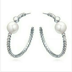 Big Pearl and CZ Hoops Platinum plated CZ hoops with large faux pearl. Lightweight and bold. Jewelry Earrings