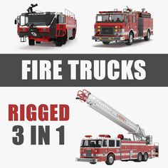 3D Rigged Fire Trucks Collection 3