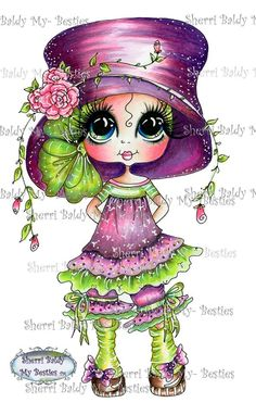 """Sherri Baldy Digi Stamps You can adopt this """"Bestie"""" :-] Have fun crafting *** This is for the black and white line art digi stamp only. You can use the images to create and sell handmade / color cards and projects; please give credit to Images D'art, Line Art Images, Besties, Note Image, Adult Coloring, Coloring Books, Colouring, Big Eyes Artist, Gothic Culture"""