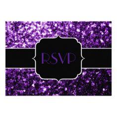 Beautiful Purple glitter sparkles (Sweet 16) Personalized RSVP Invitations by #PLdesign #PurpleSparkles #SparklesInvite #Sweet16