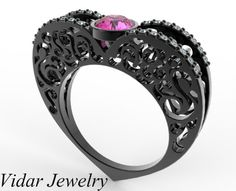 Black Gold Pink Sapphire Heart Shape Engagement Ring