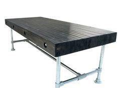 Tafel balken op zijn kant blackwash steigerbuis