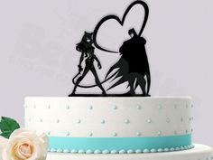 Batman and Catwoman Whips of Love Classic Superhero Wedding Cake Topper