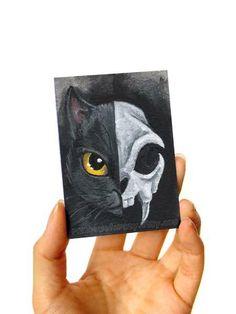 Halloween Art Projects, Halloween Artwork, Black Cat Art, Black Cats, Cat Skeleton, Cat Skull, Animal Bones, Skull Print, Dark Art