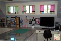 Awesome Craft Room. Ideas, and organization. Photos and videos when click through.