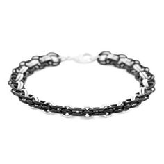 Forever Linked, a strong yet subtle chain maille bracelet design featuring black and silver jump rings | Fusion Beads Inspiration Gallery