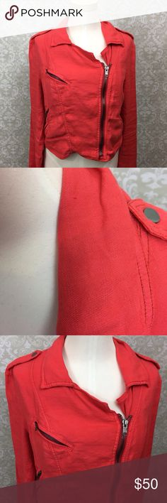 🍁Free People Dark Coral Asymmetrical Jacket Free People Women's Dark Coral Asymmetrical Zipper Bomber Jacket Size 12  This has been gently.  There are minor signs of wear at the collar. Please refer to photos for more details. Free People Jackets & Coats