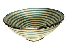 Moroccan Glazed Terracotta & Silver Alloy Trim Pasta Soup Swirled Bowl Striped (Blue) Moroccan Furniture Bazaar http://www.amazon.com/dp/B010W3D97U/ref=cm_sw_r_pi_dp_iiVLvb1AJ91G2