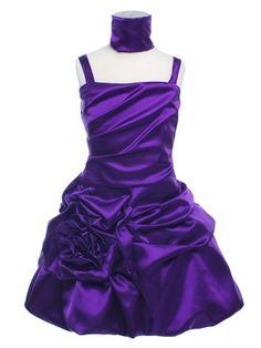 Purple Pleated Satin Bodice Flower Girl Dress - Flower Girl (Sizes 2-12) - GIRLS