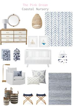 How to Design a Versatile Nursery That Grows with Your Family - The Pink Dream Design a coastal nautical nursery with ocean-inspired ideas for baby's room. Coastal Nursery, Ocean Nursery, Nursery Neutral, Nursery Room, Boy Nautical Nursery, Disney Nursery, Boy Nursery Rugs, Whale Themed Nursery, Blue Nursery Girl